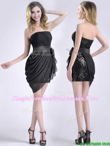 Lovely Column Bowknot Short Graduation Dress in Chiffon and Sequins