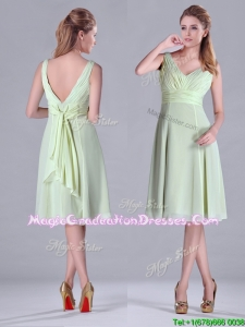 Lovely Tea Length Ruched and Belted Graduation Dress in Yellow Green