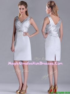 Modern V Neck Belted with Beading Graduation Dress in Silver
