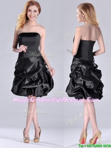 New Arrivals Strapless Taffeta Black Graduation Dress in Knee Length