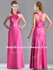 New Style Hand Crafted Flowers Hot Pink Graduation Dress with Criss Cross