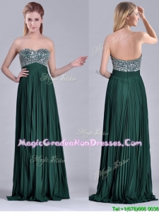 Popular Brush Train Beaded Bust and Pleated Graduation Dress in Hunter Green