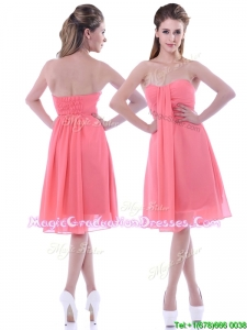 Popular Empire Chiffon Ruched Watermelon Graduation Dress in Knee Length