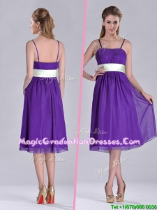 Romantic Spaghetti Straps Belted Eggplant Purple Graduation Dress in Tea Length