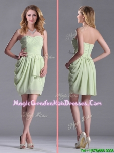 Simple Zipper Up Chiffon Yellow Green Graduation Dress with Ruching