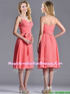 2016 Best Spaghetti Straps Watermelon Graduation Dress with Ruching and Bowknot
