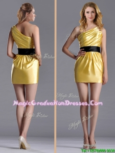 2016 Exclusive One Shoulder Ruched and Belted Graduation Dress with Side Zipper