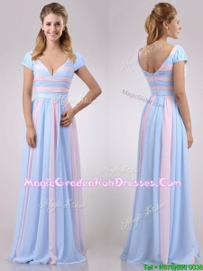 2016 New Deep V Neckline Chiffon Graduation Dress in Baby Pink and Light Blue