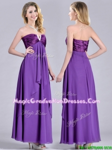 Cheap Beaded Decorated V Neck Chiffon School Party Dress in Eggplant Purple