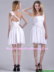 Classical Criss Cross White School Party Dress with Hand Crafted Flowers