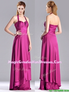 Classical Halter Top Fuchsia Long Graduation Dress in Elastic Woven Satin