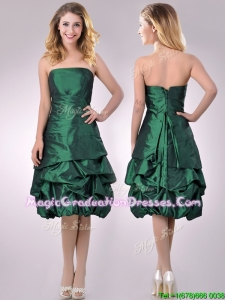 Classical Taffeta Strapless Bubble School Party Dress in Dark Green
