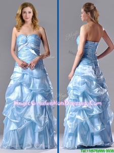 Column Sweetheart Long Light Blue Beaded Ruched Graduation Dress in Organza