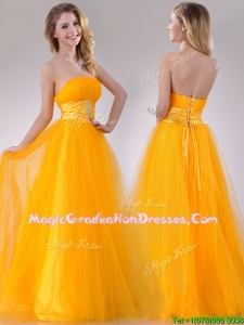 Elegant A Line Beaded Tulle Gold School Party Dress with Lace Up