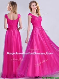 Exclusive Organza Beaded Top Hot Pink School Party Dress with Cap Sleeves