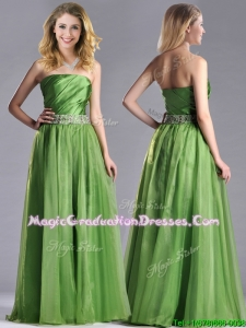 Exclusive Strapless Beaded Decorated Waist Graduation Dress with Side Zipper