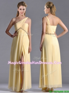 Exquisite One Shoulder Yellow School Party Dress with Beading and High Slit