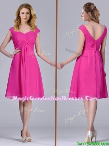 Hot Pink Empire Knee-length Chiffon Ruching Short Graduation Dress for Graduation