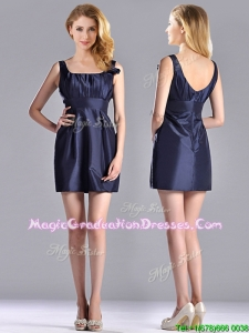 Hot Sale Square Handcrafted Flower Short School Party Dress in Navy Blue