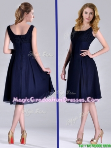 Latest Square Empire Chiffon Navy Blue Graduation Dress with Ruching
