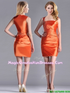 Lovely Column Square Side Zipper Short School Party Dress in Orange Red
