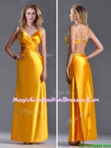 Luxurious Beaded Decorated Straps Criss Cross Graduation Dress in Gold