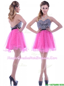 Modern Sequined Decorated Bodice Organza Hot Pink Graduation Dress with Backless