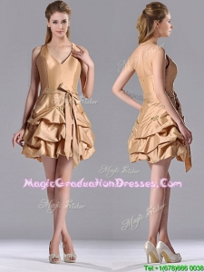 Most Popular Halter Top Champagne Graduation Dress with Bubbles and Bowknot