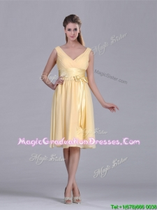 New Arrivals V Neck Bowknot Chiffon Short Graduation Dress in Yellow