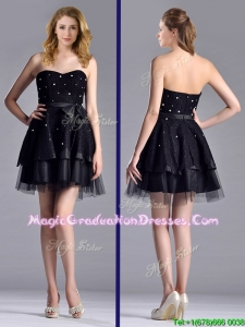 New Style Tulle Black Short School Party Dress with Beading and Belt