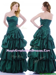 Popular A Line Ruched and Bubble School Party Dress in Hunter Green