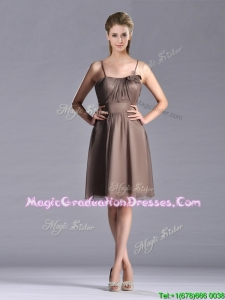 Popular Chiffon Brown Short School Party Dress with Spaghetti Straps
