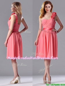 Popular Watermelon School Party Dress with Hand Made Flowers Decorated One Shoulder