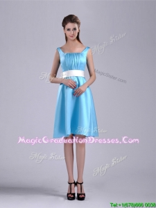 Simple Belted and Ruched Aqua Blue School Party Dress in Knee Length