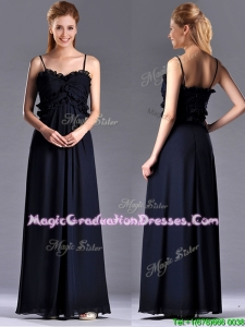 Simple Empire Straps Chiffon Ruching Navy Blue Graduation Dress for Holiday