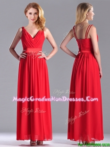 The Super Hot Empire V Neck Red Graduation Dress in Ankle Length