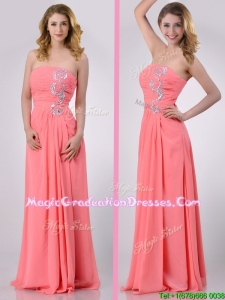 Watermelon Empire Strapless Chiffon Beading Long Graduation Dress for Graduation
