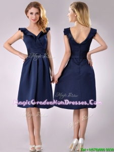 Beautiful V Neck Navy Blue Empire Graduation Dress with Cap Sleeves