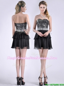 Cheap Sweetheart Black Short Graduation Dress in Sequins and Chiffon