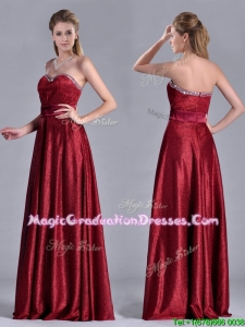 Classical Empire Sweetheart Wine Red Graduation Dress with Beaded Top