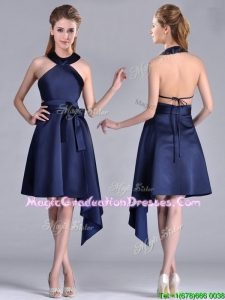 Elegant Halter Top Asymmetrical Navy Blue Graduation Dress in Satin