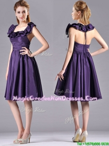 Elegant Halter Top Backless Short Graduation Dress in Dark Purple