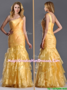 Elegant Mermaid One Shoulder Organza Ruffled Graduation Dress in Gold