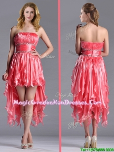 Elegant Strapless High Low Beaded Decorated Waist Graduation Dress in Coral Red