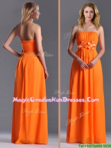 Empire Strapless Ruching Chiffon Long Graduation Dress in Orange