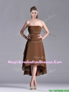 Exclusive Beaded Strapless High Low Brown Graduation Dress in Chiffon