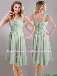 Exclusive Beaded and Ruched Apple Green V Neck Graduation Dress in Chiffon