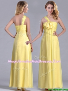 Exclusive One Shoulder Chiffon Yellow Graduation Dress in Ankle Length
