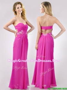 Fashionable Sweetheart Backless Beaded and Ruched Graduation Dress in Hot Pink