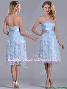Gorgeous Empire Tea Length Applique Tulle Graduation Dress in Light Blue